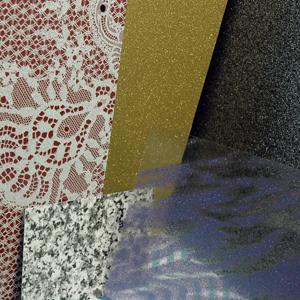Impressions de paillettes sur différents matériaux