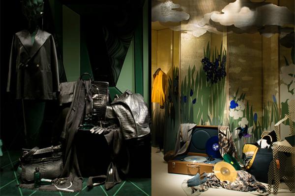 Impression sérigraphie en tissu velours pour vitrines Hermès
